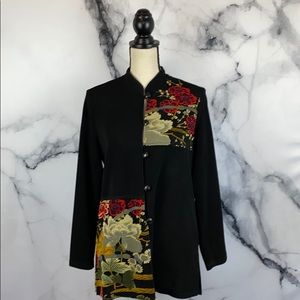 Vintage Asian pattern mandarin shirt jacket Medium